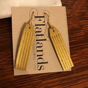 COPY - Gold Leather Fringe Earrings